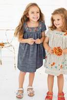 Next Girls Denim Embroidered Dress (3mths-6yrs) - Blue