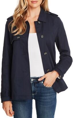 CeCe Stretch Cotton Twill Trench Jacket