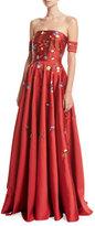 Sachin + Babi Margaret Strapless Embroidered Satin Gown, Scarlet