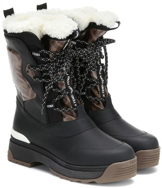 Fendi T-Rex leather and shearling ankle boots
