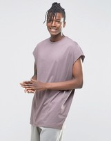Asos Super Oversized Sleeveless T-Shirt With Raw Edge In Violet Gray