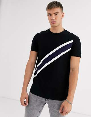 Burton Menswear t-shirt with diagonal tape detail in black