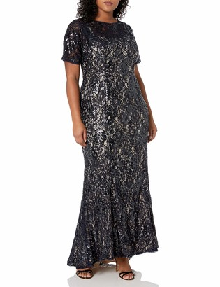Adrianna Papell Women's Plus Size Short Sleeve Sequin Lace Mermaid Gown (Womans)