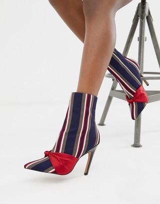 Asos Design DESIGN Evy stripe bow boots-Multi