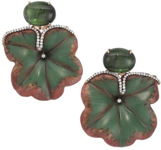 Silvia Furmanovich Marquetry 18K Rose Gold, Green Tourmaline & Diamond Flower Earrings