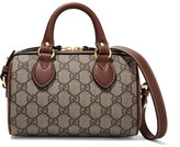 Gucci Boston Mini Leather-trimmed Coated-canvas Shoulder Bag - Beige
