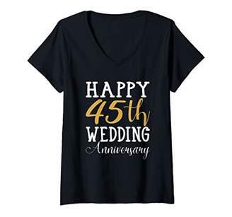 Womens Happy 45th Wedding Anniversary Gift Couples Wife Husband V-Neck T-Shirt