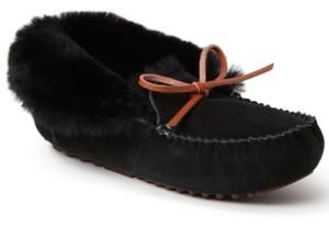 Dearfoams Fireside Women's Brisbane Genuine Moccasin Slipper with Tie, Online Only
