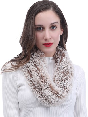 Lina & Lily Super Soft Fluffy Faux Fur Snood Scarf Neck Warmer (White and Brown)