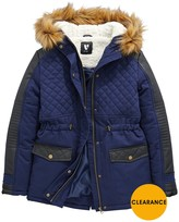 Very Girls PU Quilted Parka Coat