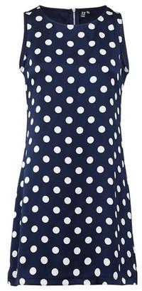 Dorothy Perkins Womens Izabel London Navy Polka Dot Print Shift Dress, Navy