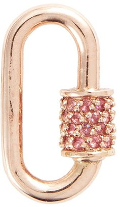 Marla Aaron Baguette' pink sapphire 14k rose gold baby lock