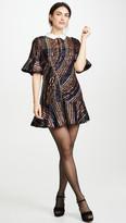 Self-Portrait Sequin Stripe Collared Mini Dress