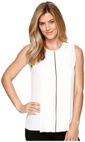 Ellen Tracy Contrast Piped Pleat Front Shell Women's Clothing