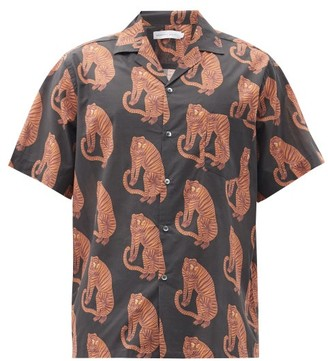 Desmond & Dempsey Sansindo Tiger-print Cotton Pyjama Top - Black Orange