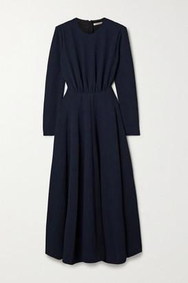 Emilia Wickstead Jorgie Ruched Cloque Midi Dress - Navy