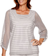Alfred Dunner Cape Hatteras 3/4-Sleeve Lace-Overlay Top