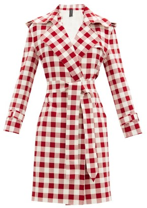 Norma Kamali Double-breasted Gingham Trench Coat - Red White