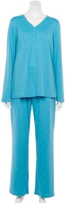 Croft & Barrow Women's Knit Long Sleeve Pajama Shirt & Pajama Pants Set