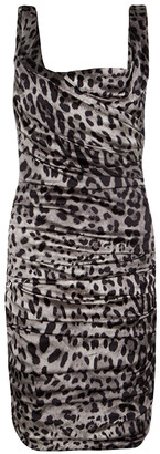 Dolce & Gabbana Grey Animal Print Silk Ruched Sleeveless Dress S