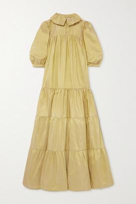 AVAVAV Tiered Silk-taffeta Maxi Dress - Chartreuse
