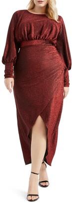 ELOQUII Long Sleeve Sparkle Maxi Dress