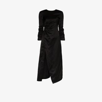 A.W.A.K.E. Mode Ruched Side Split Midi Dress