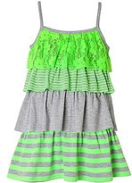 JCPenney Pinky 4-Tier Green & Gray Dress - Girls 2t-5t