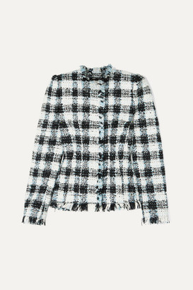 Alexander McQueen Checked Boucle-tweed Blazer - Blue