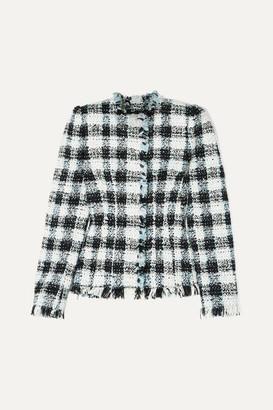 Alexander McQueen Checked Boucle-tweed Blazer - Blue