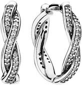 Pandora Earrings - Sterling Silver & Cubic Zirconia Twist of Fate Huggies
