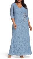 Alex Evenings Embellished Lace A-Line Gown (Plus Size)