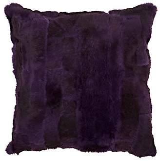 Adrienne Landau Rabbit Fur Pillow - Purple