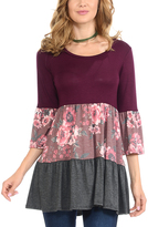 Celeste Wine Floral Tiered Three-Quarter Sleeve Tunic