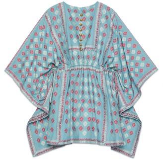 Gucci GG flower fil coupe short kaftan dress