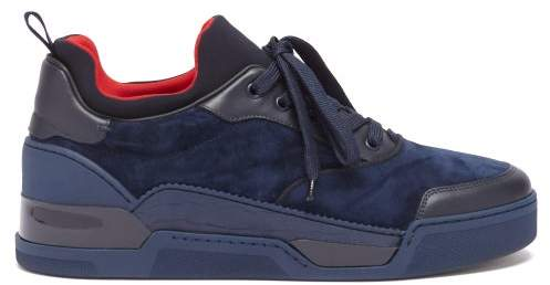 check out 5c721 dbfc1 Aurelien Low Top Suede Trainers - Mens - Blue