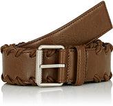 Balenciaga Men's Arena Whipstitched Leather Belt-BROWN, DARK GREEN