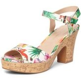 Dorothy Perkins Womens White Tropical Print 'Romana' Platform Sandals- White