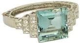 Solid Platinum Aquarium & Diamond Bangle Bracelet