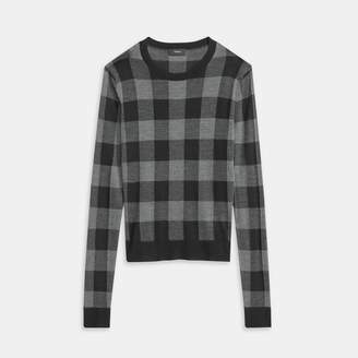 Theory Silken Knit Plaid Crewneck Sweater