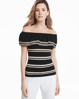 White House Black Market Stripe Off-the-Shoulder Sweater