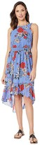 Vince Camuto Printed Bateau Neck Fit and Flare Dress (Blue Multi) Women's Dress