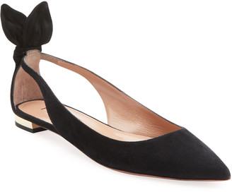 Aquazzura Bow Tie Suede Ballet Flats