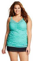 Ava & Viv Women's Plus Size Shirred Crochet Tankini Turquoise 26W