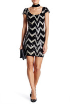 Dress the Population Gabriella Chevron Sequined Minidress