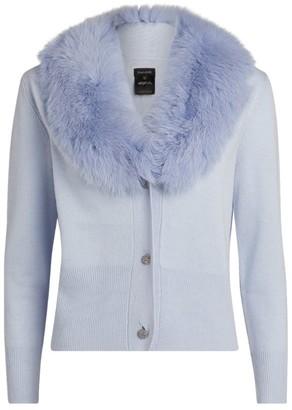 Izaak Azanei Wool-Cashmere Fur-Trim Cardigan