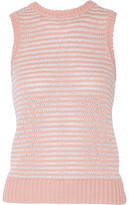 J Brand Garey Striped Crochet-Knit Cotton-Blend Tank