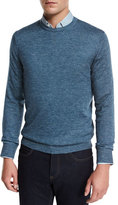 Ermenegildo Zegna Cashmere-Silk Crewneck Sweater, Medium Blue