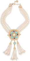 Ben-Amun Gold-plated, faux pearl and stone necklace