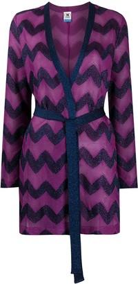 M Missoni Zigzag-Print Belted Cardi-Coat